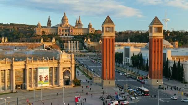 Time-Lapse z Placa De Espanya (náměstí Španělsko). Barcelona, Španělsko
