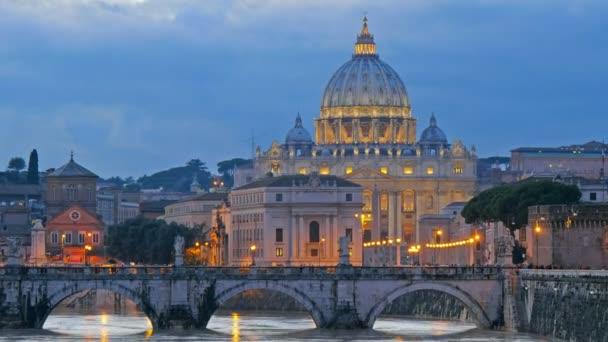 St. Peters Basilica, Ponte Sant Angelo Bridge, Vatican. Rome, Italy. Time lapse