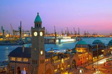Hamburg harbour after sunset, Germany