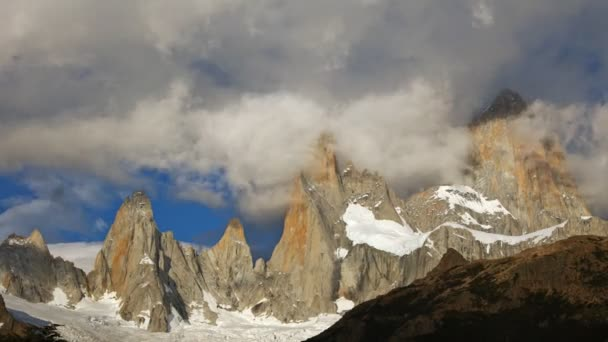 Fitz Roy mountain in sunrise lights. Los Glaciares National Park, Patagonia, Argentina. Time lapse