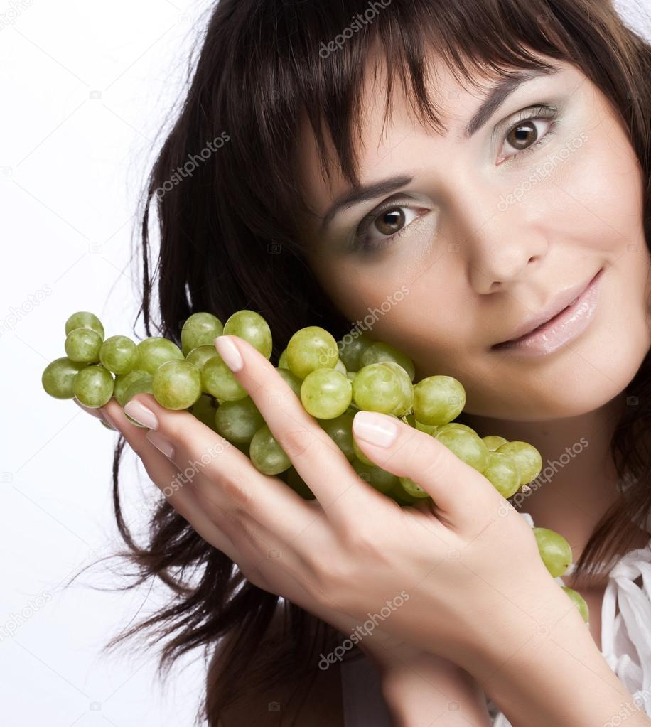 Young Woman With Green Grapes Stock Photo C Juice Team