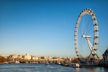 View of the London Eye and river Thames, London