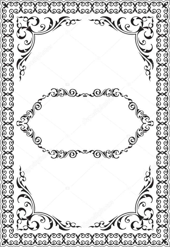 Die viktorianischen Kunst verzierten Rahmen — Stockvektor ...