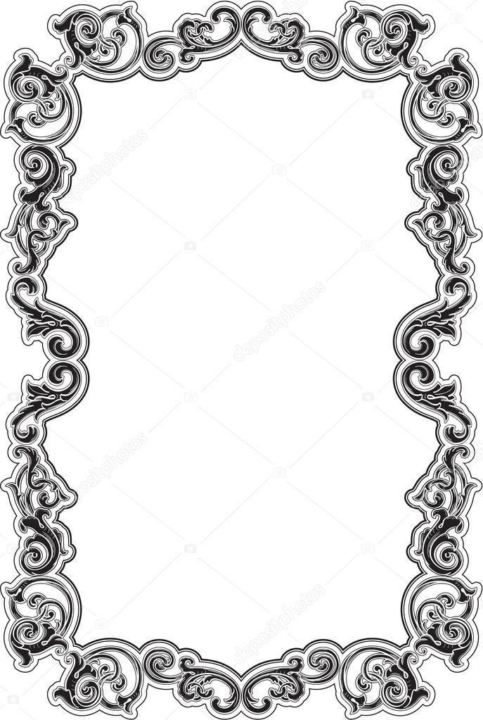 Marco negro barroco acanto — Archivo Imágenes Vectoriales ...