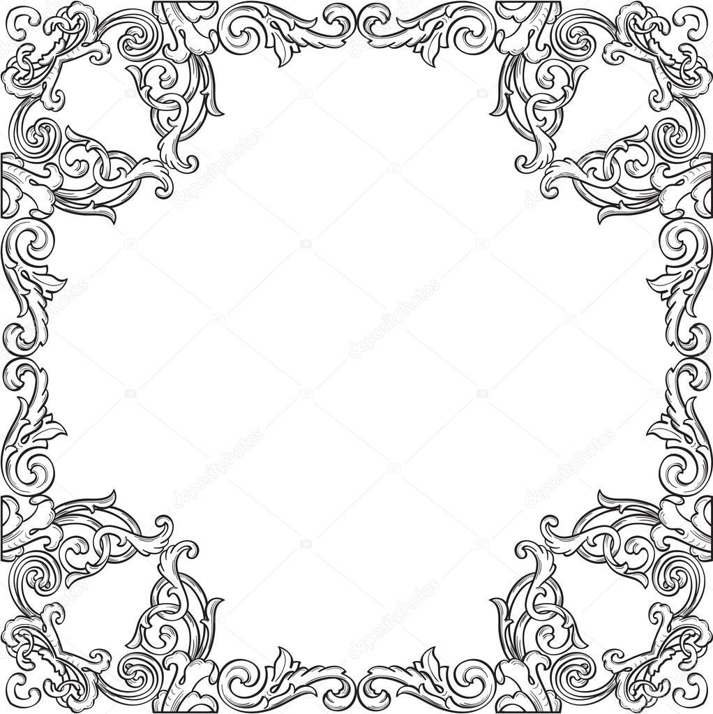 Viktorianische richtiger verzieren Kunst-Rahmen — Stockvektor ...
