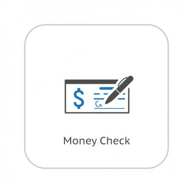 Money Check Business Icon. Flat Design.