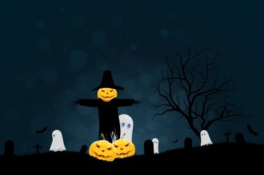 Halloween Party Background with Scarecrow, Ghosts Pumpkins and B