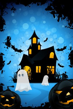 Halloween Background with Haunted House, Pumpkings and Ghosts