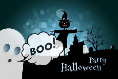 Halloween Party Background with Scarecrow, Ghosts, Pumpkins