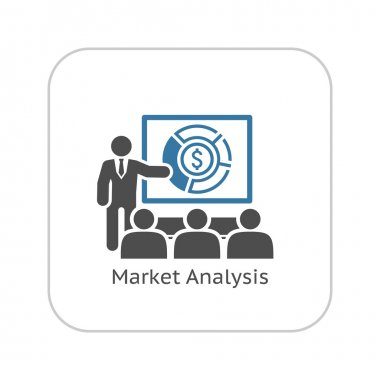 Market Analysis Icon. Business Concept. Flat Design.