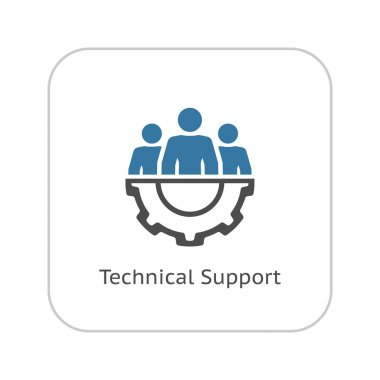 Technical Support Icon. Flat Design.