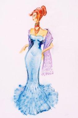 """Картина, постер, плакат, фотообои """"женщина-мода абстракция пейзаж морской"""", артикул 69982587"""