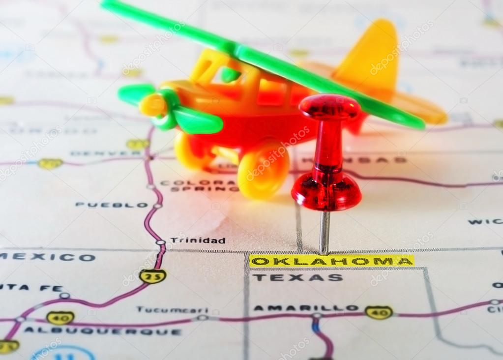 Oklahoma USA Map Airplane Stock Photo Ivosar - Usa map with oklahoma