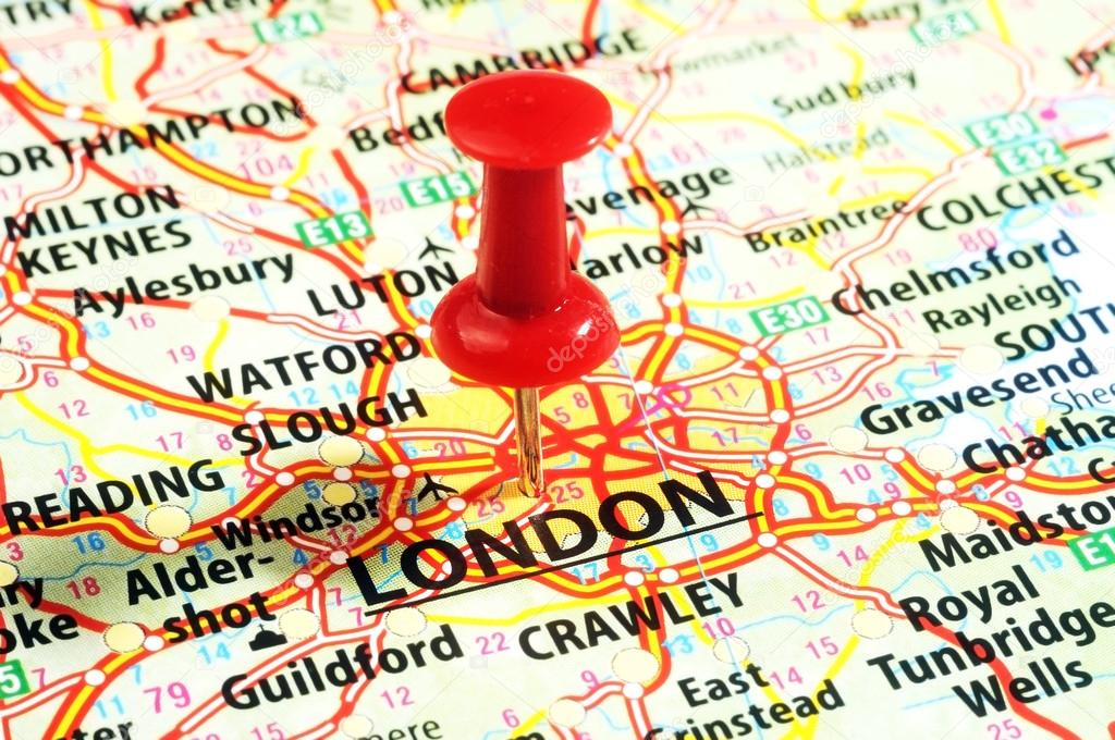 close up of london united kingdom map and red pin travel concept photo by ivosar