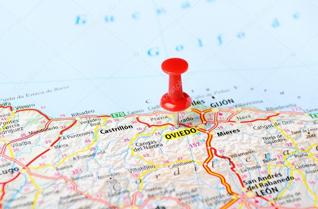 oviedo espanha mapa Alfinete de mapa de Oviedo, Espanha — Fotografias de Stock  oviedo espanha mapa
