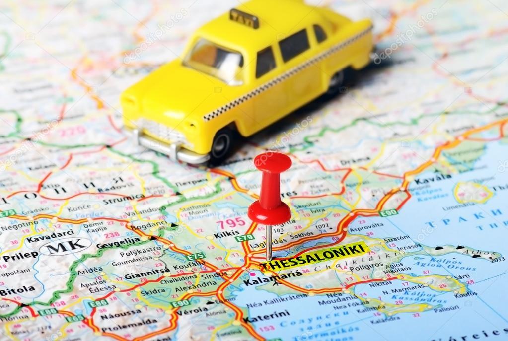 Thessaloniki Greece map taxi Stock Photo ivosar 61396285