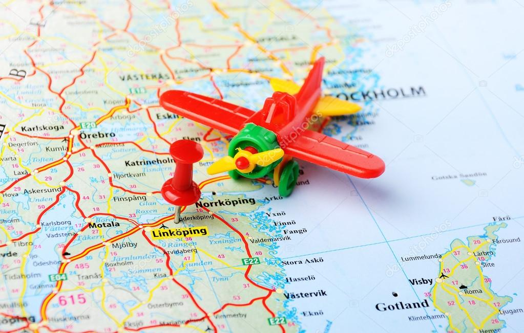 Linkoping Sweden map airplane Stock Photo ivosar 65829805