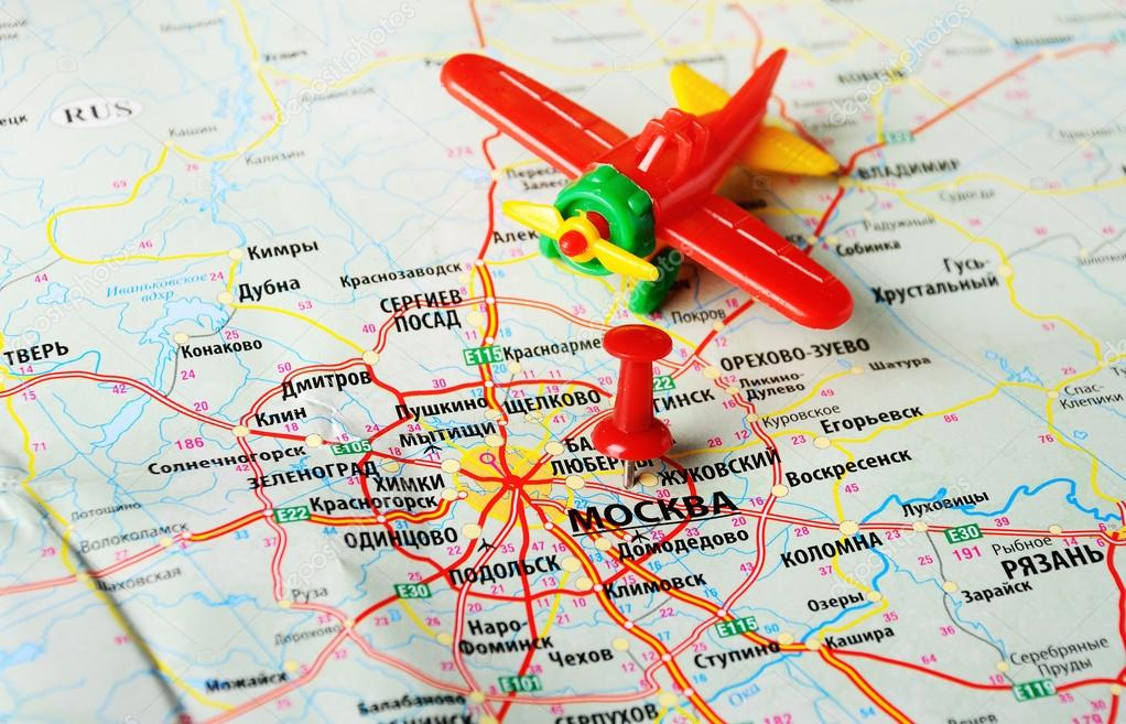 Moscow , Russia map airplane — Stock Photo © ivosar #67760983
