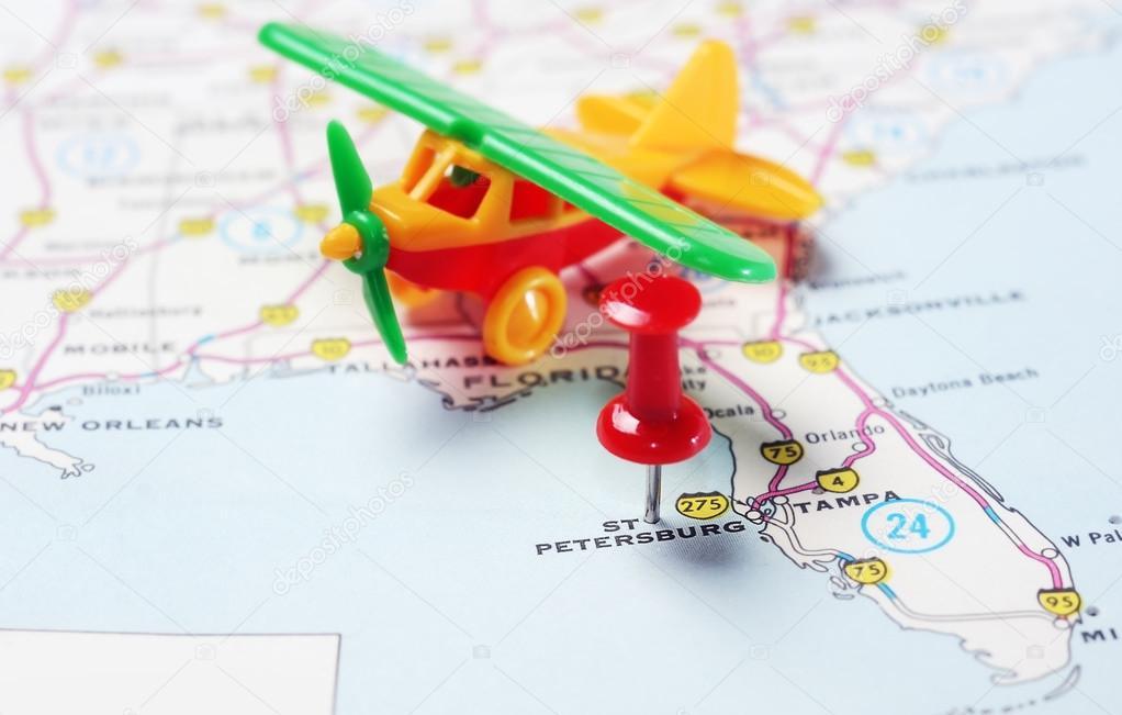 St Petersburg USA Florida map airplane — Zdjęcie stockowe © ivosar