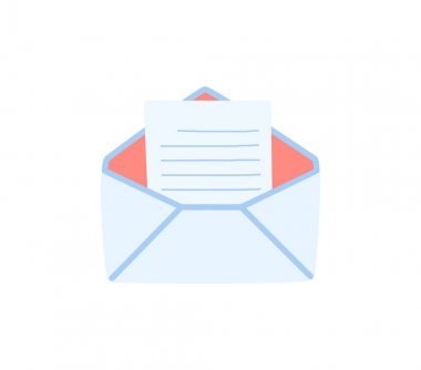 An open envelope with a letter inside, the letter is read. Vector illustration in a hand-drawn style. icon