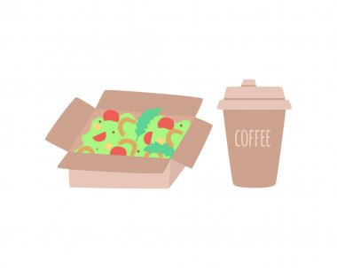 Vector set of craft box of food and a coffee cup, packaging for food and beverage isolated on white. Vector illustration in flat style. Supermarket, shop, restaurant, fast food package. icon