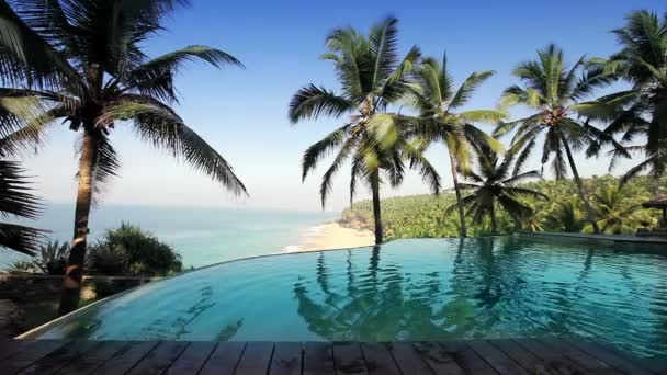 bazén na okraji skály s výhledem na oceán a palm stromy