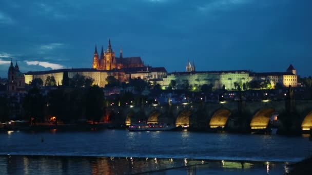 Beautiful Cityscape of Prague at night with Charles Bridge Karluv Most over Vltava river and Prague Castle, Czech Republic