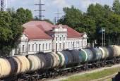 Fotografie Bahnhof und Güterzug. Narva. Estland