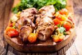 grillezett hús, zöldség