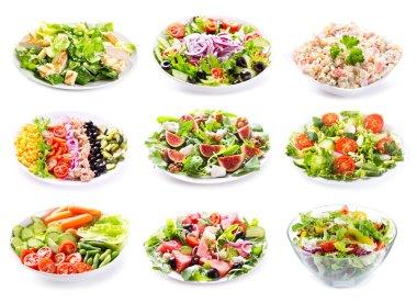 set of various salads