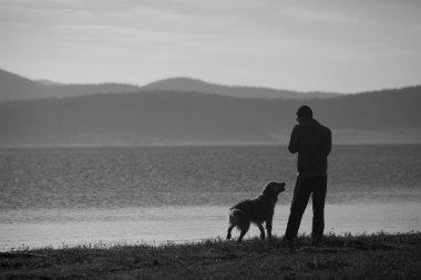 bw man and dog