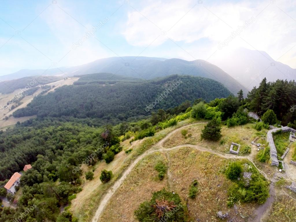 Aerial Gopro Landscape In Bulgarian Forest Ruins From Old Fortres And Tourist Resort Above Photo By Sliper84