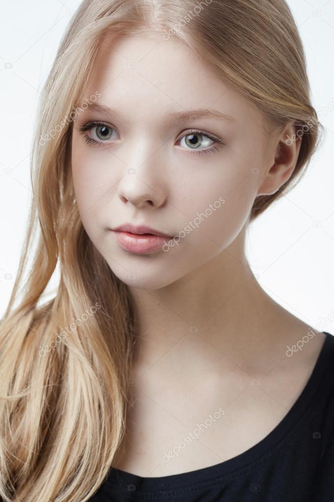 Beautiful blond teen girl portrait — Stock Photo © ababaka ... on Beautiful Teen Girl  id=12374