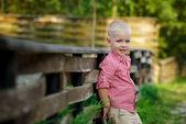little happy boy in zoo