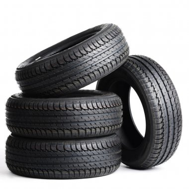 black tires isolated on white background