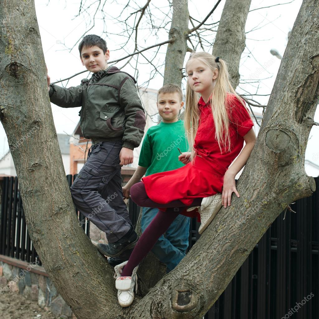 Children climb on tree