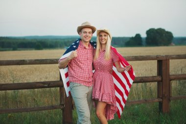 Happy family in country style