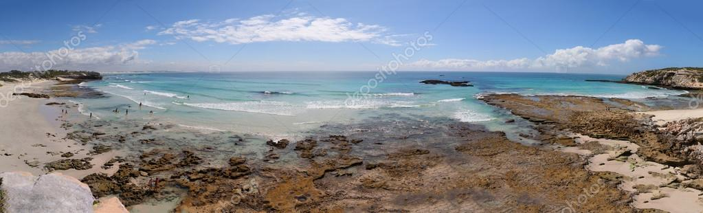 Panoramic seascape of the rocks and beach at Arniston South Afri