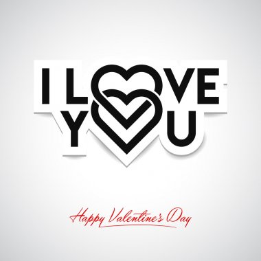 I Love You. Valentine's card clip art vector