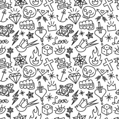 Old school tattoo seamless pattern. vector background stock vector