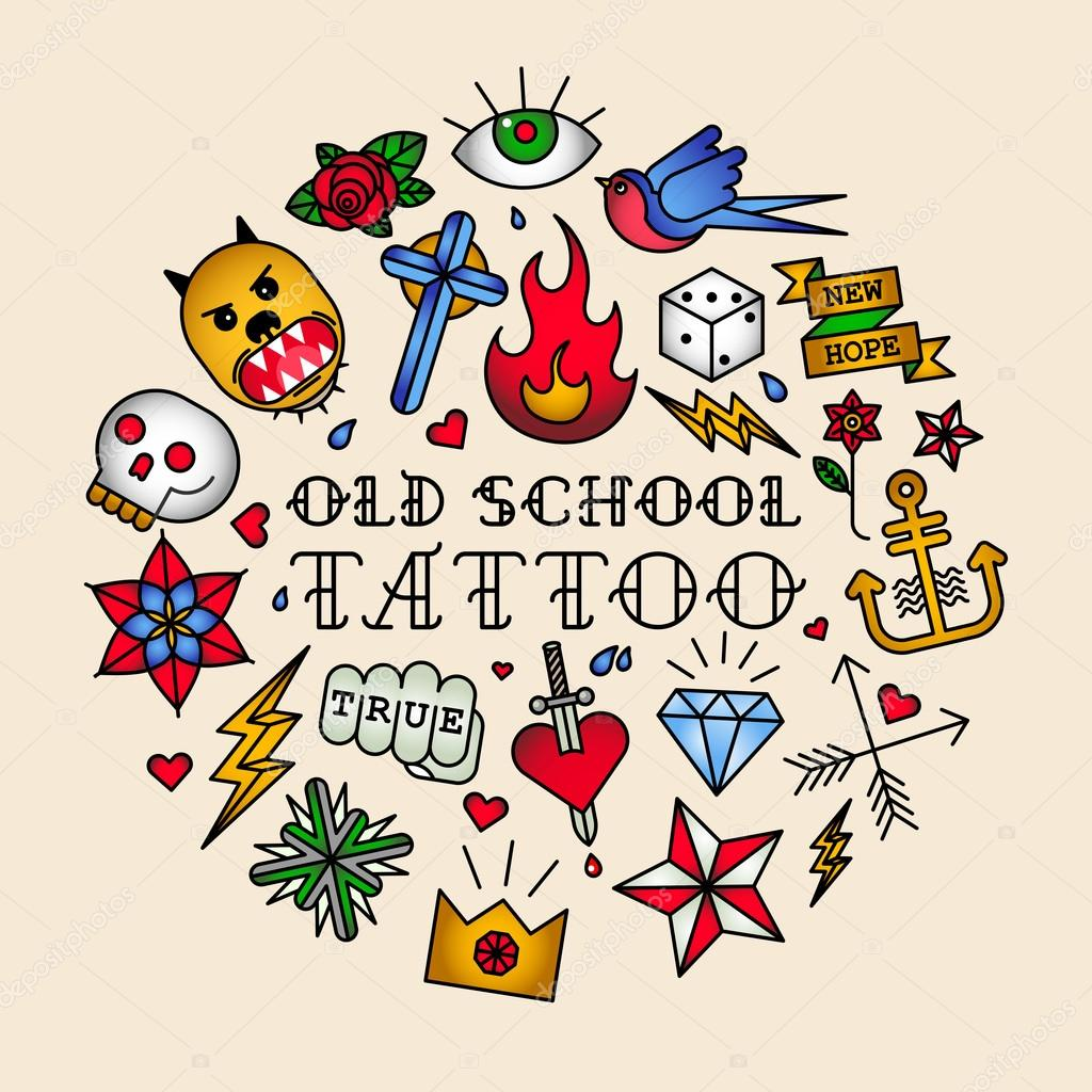 Old School Tattoo Seamless Pattern Pics Stock Photos All Sites