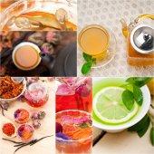Kolekce různých bylinných čajů infuze koláž