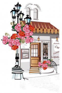 Series of backgrounds decorated with flowers, old town views and street cafes.