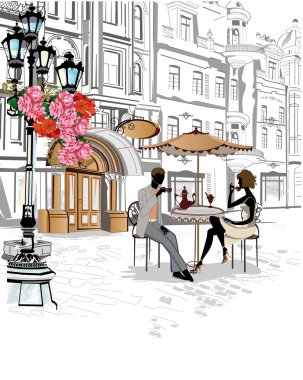 Series of sketches of beautiful old city streets with cafes.