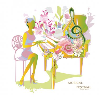 Abstract musical background with musicians and flowers.