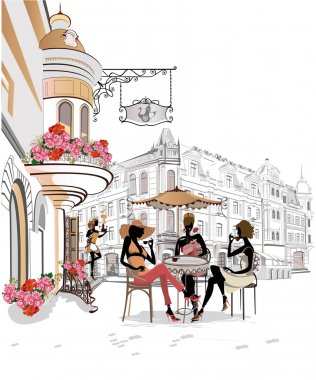 Fashion people in the street cafe