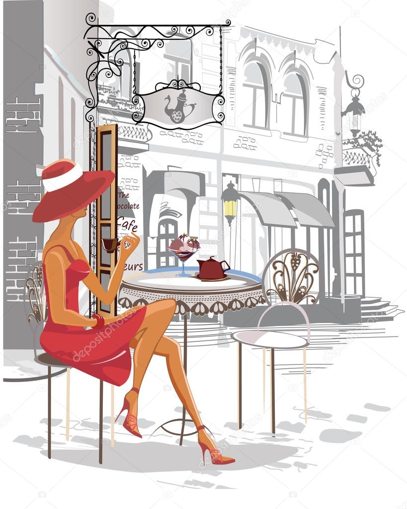 Fashion Girl In The Street Cafe Stock Vector