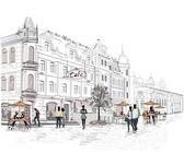 Az utcán az emberek, a régi város sorozat