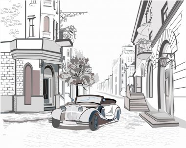 Series of street views in the old city with a retro car