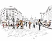 Řada ulic s lidmi ve starém městě